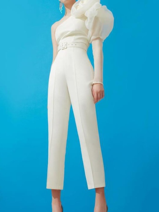 Plain Asymmetric Sexy Ankle Length Slim Women's Jumpsuit