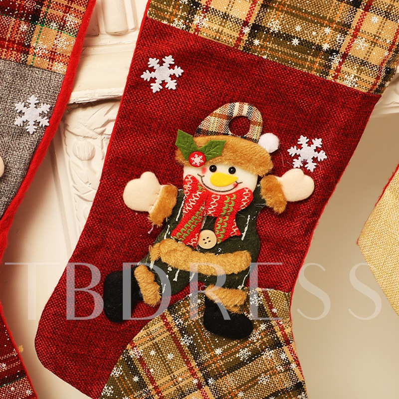 Cute Color Block Christmas Socks Decoration Supplies