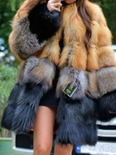 Mid-Length Color Block Thick Women's Faux Fur Overcoat