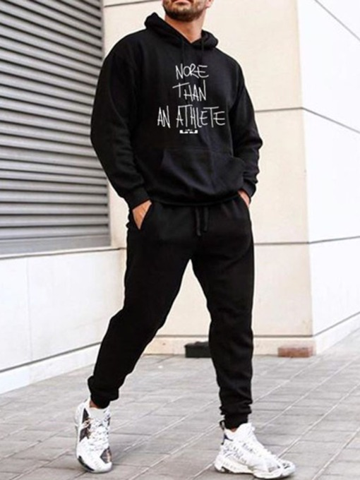 Letter Hoodie Sports Print Fall Men's Outfit