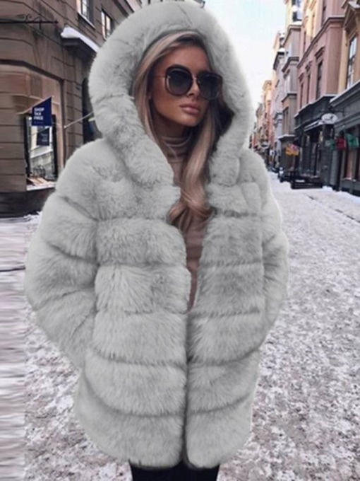 Regular Plain Hooded Mid-Length Winter Women's Faux Fur Overcoat