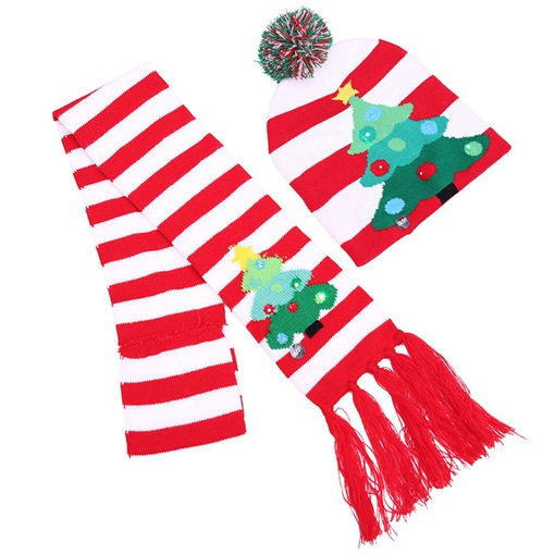 Cute Scarfs Color Block Christmas Decoration Supplies