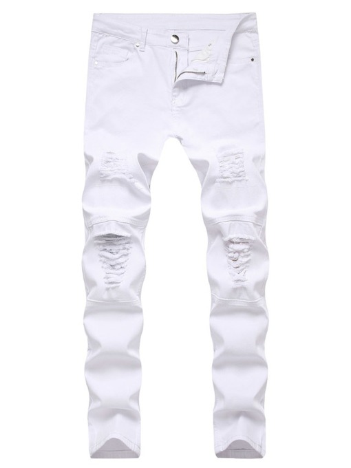 Plain Hole Straight Korean Men's Jeans