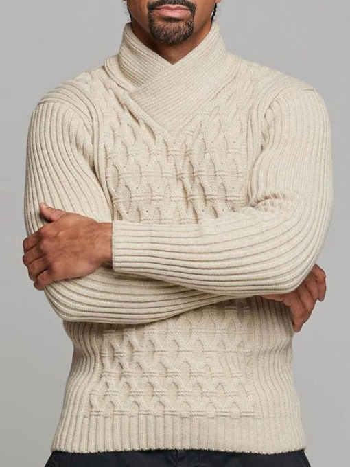 Standard Plain Winter Turtleneck Slim Men's Sweater