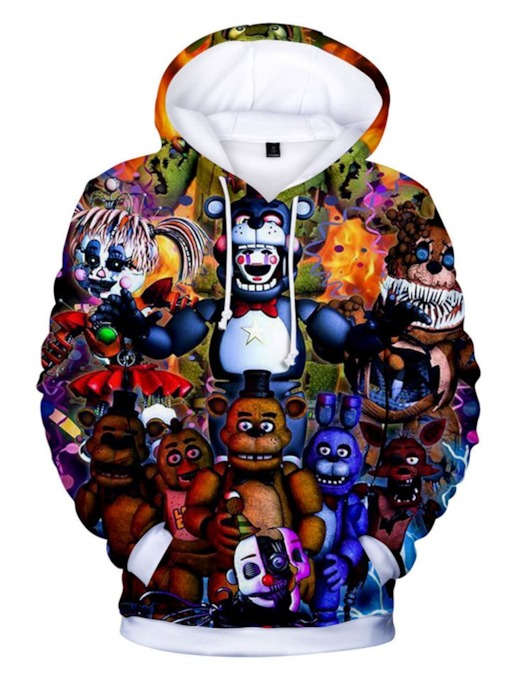Print Cartoon Fleece Pullover Loose Men's Hoodies