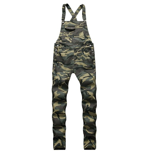 Camouflage Full Length Suspenders Straight European Men's Jumpsuits/Overalls