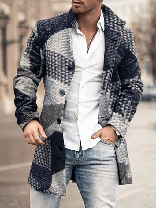 Lapel Mid-Length Color Block Print Winter Men's Coat