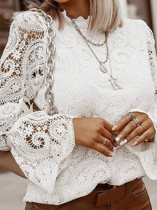 Lace StandardCollar Plain Long Sleeve Women's Blouse