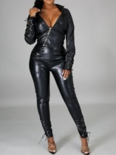 Zipper Plain Sexy Leather Coat Zipper Women's Two Piece Sets