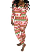 Christmas Sexy Geometric Ankle Length Skinny Women's Jumpsuit