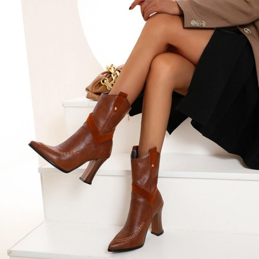 Plain Back Zip Pointed Toe Chunky Heel OL Boots