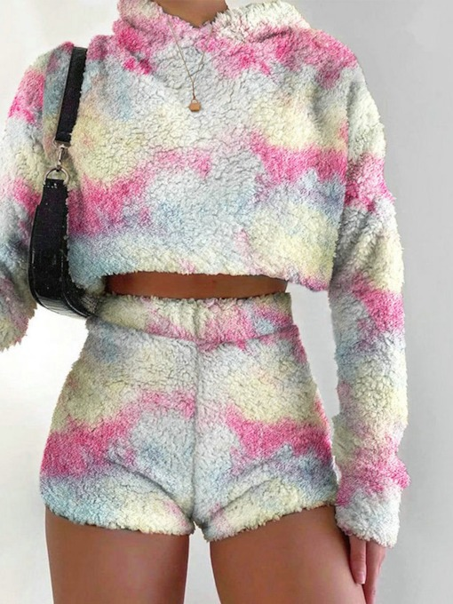 Sweet Hoodie Color Block Straight Women's Two Piece Sets