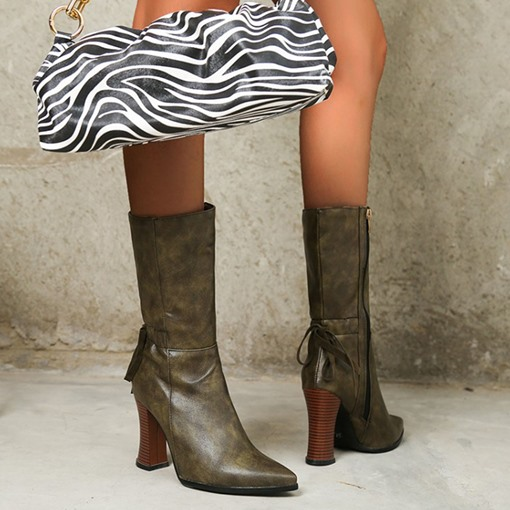 Side Zipper Plain Chunky Heel Pointed Toe Zipper Boots