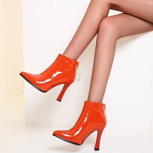 Chunky Heel Plain Back Zip Pointed Toe Short Floss Boots