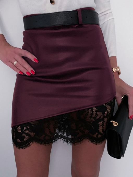 Bodycon Lace Color Block Mini Skirt Sexy Women's Skirt