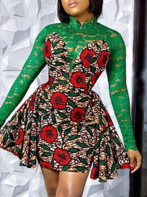 Long Sleeve Above Knee Stand Collar Print Floral Women's Dress