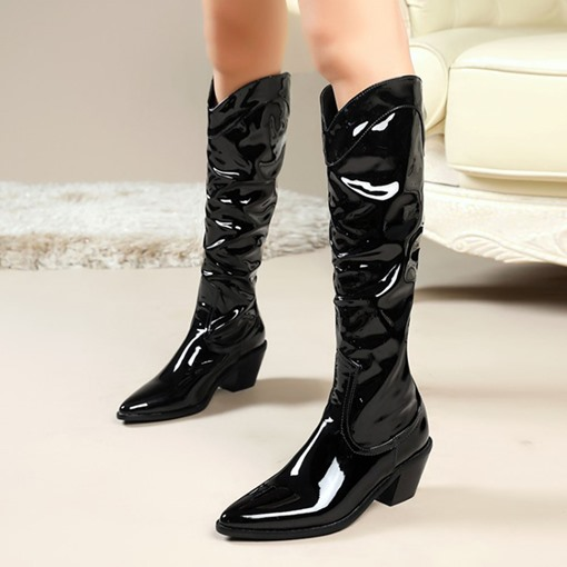 Fashion Slip-On Plain Pointed Toe Chunky Heel Thread Boots
