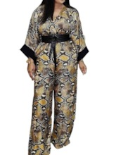 Serpentine Lace-Up Full Length Western Loose Women's Jumpsuit