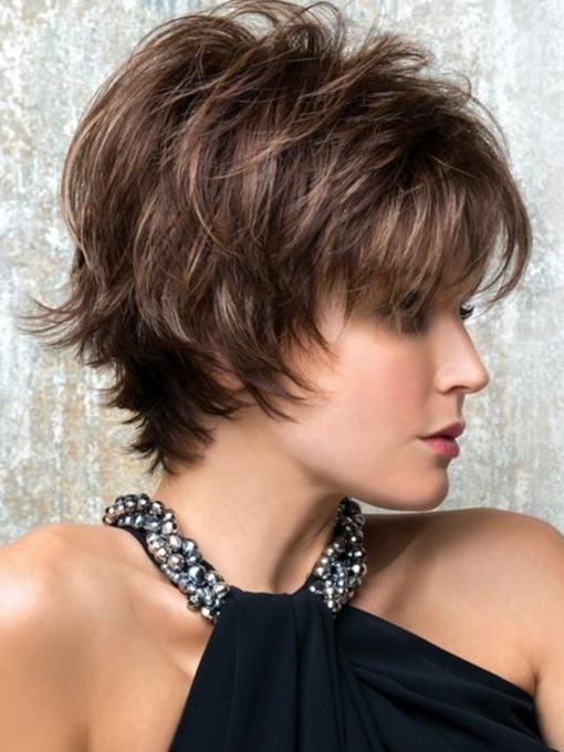 Women's Short Shaggy Hairstyles Layered Straight Human Hair Capless 120% 8 Inches Wigs