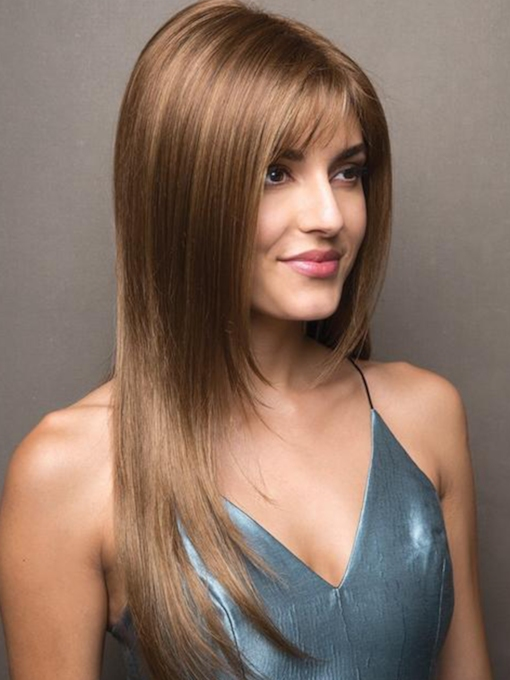 Women's Long Length Slik Straight Human Hair Lace Front 24 Inches 120% Wigs