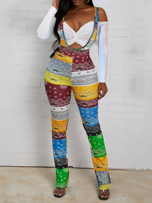 Suspenders Color Block Full Length Fashion Slim Women's Overalls