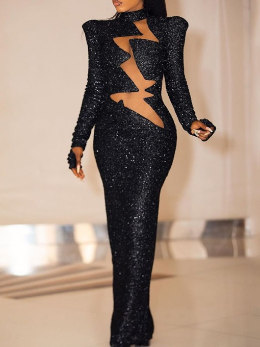 Stand Collar Floor-Length Long Sleeve Sequins Sexy Women's Dress