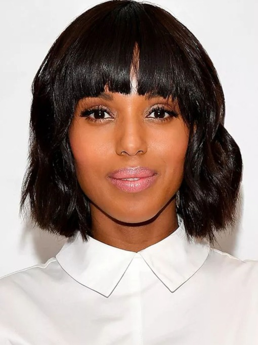 African American Women's Short Bob Hairstyle Wavy Human Hair Capless 120% 12 Inches Wigs
