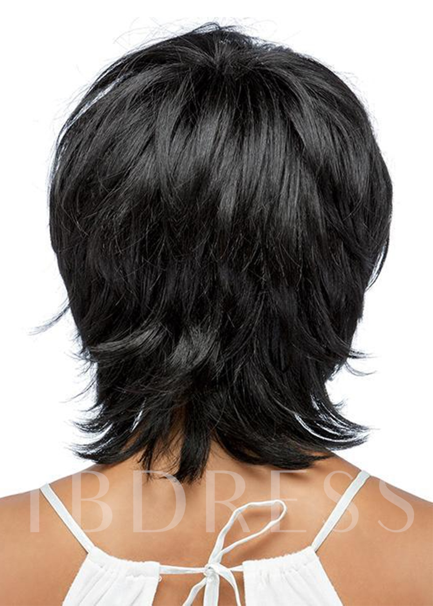 Women's Shaggy Layered Hairstyles Natural Straight Human Hair Capless 120% 12 Inches Wigs