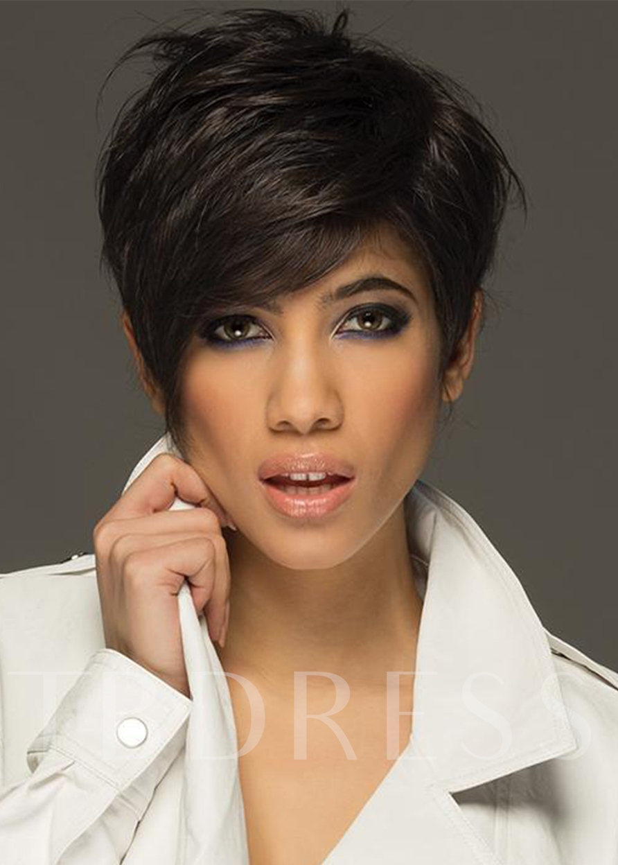 Women's Short Pixie Cut Hairstyles Straight Human Hair Lace Front 120% 8 Inches Wigs