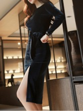 Long Sleeve Round Neck Mid-Calf Split Regular Women's Dress