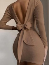 Long Sleeve Lace-Up Above Knee Round Neck Party/Cocktail Women's Dress