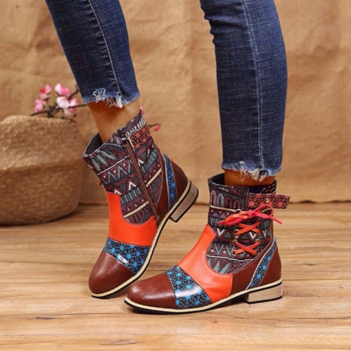 Block Heel Round Toe Patchwork Side Zipper Print Boots