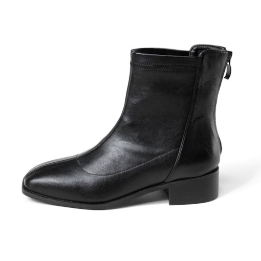 Back Zip Square Toe Plain Thread Boots
