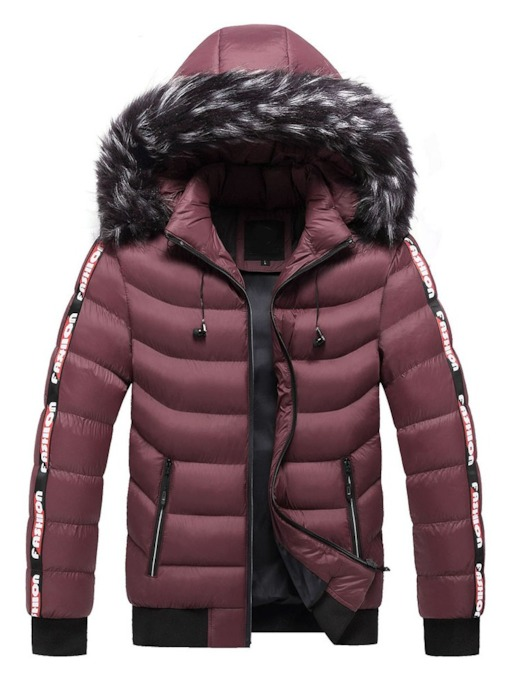 Letter Stand Collar Patchwork Standard Casual Men's Down Jacket