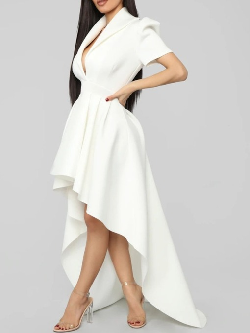Short Sleeve Floor-Length Lapel Asymmetric High Waist Women's Dress