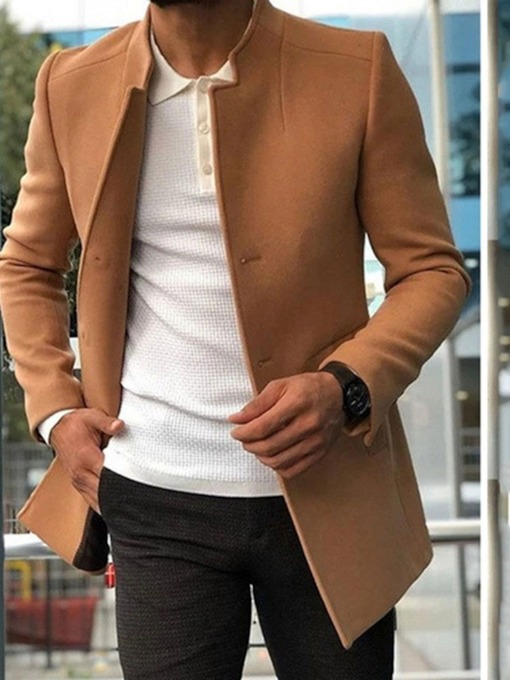 Stand Collar Plain Mid-Length European Men's Coat