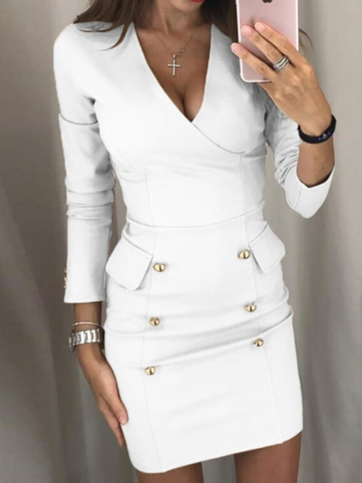 Button V-Neck Above Knee Long Sleeve Wear to Work/Workwear Women's Dress