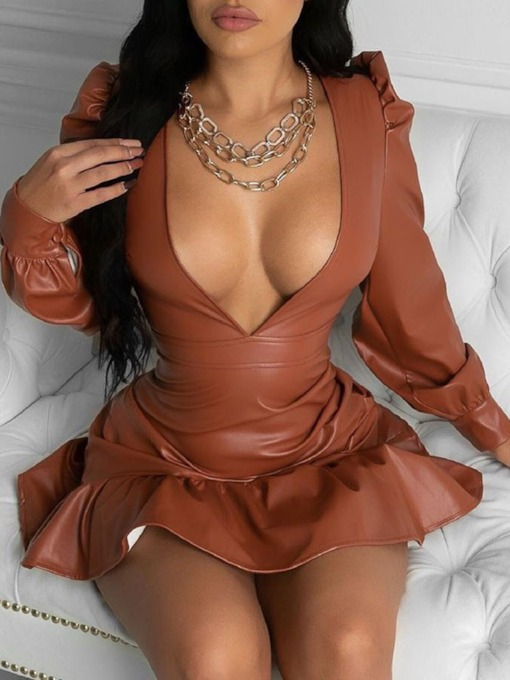 Long Sleeve V-Neck Pleated Above Knee Spring Women's Dress