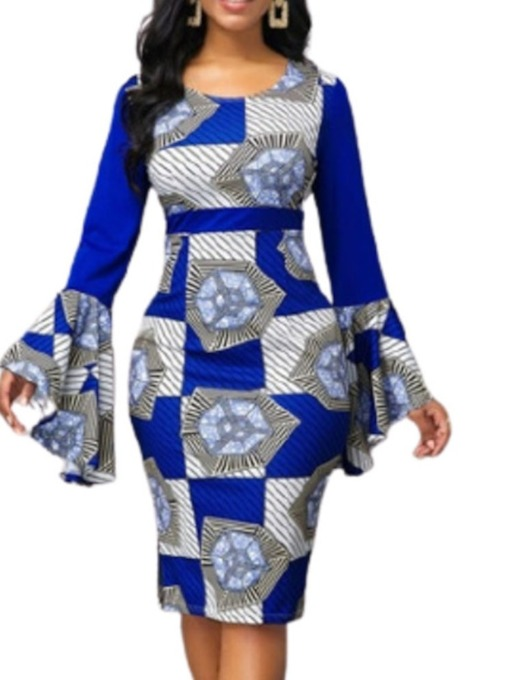 Round Neck Mid-Calf Long Sleeve Print Geometric Women's Dress