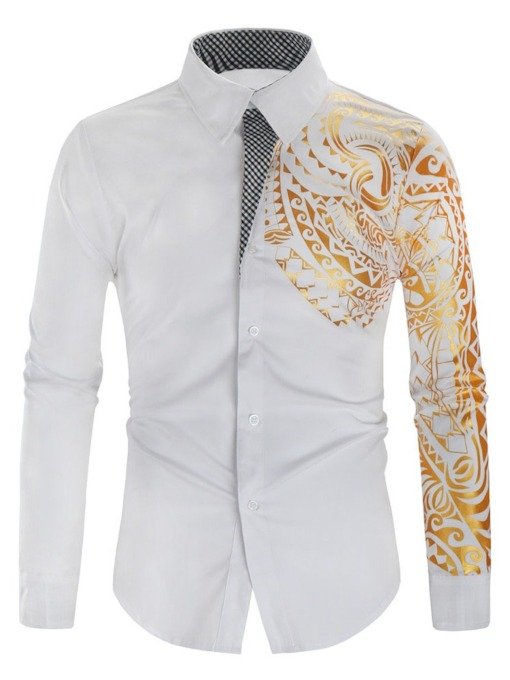 Lapel Casual Floral Patchwork Fall Men's Shirt