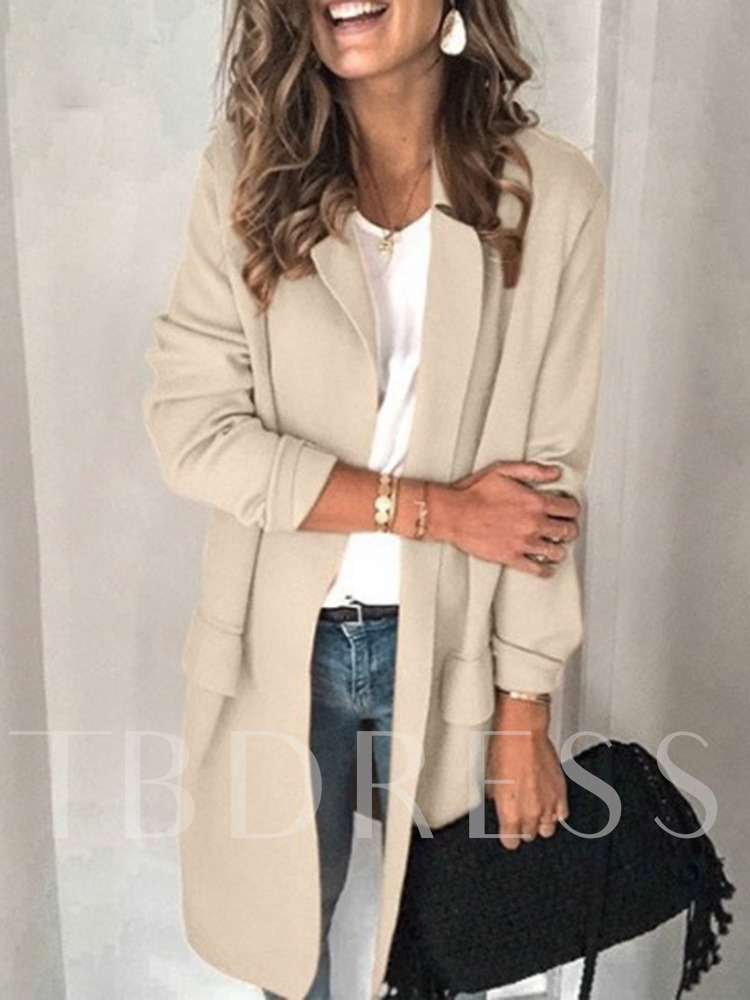Long Sleeve Notched Lapel Plain Regular Patchwork Women's Casual Blazer