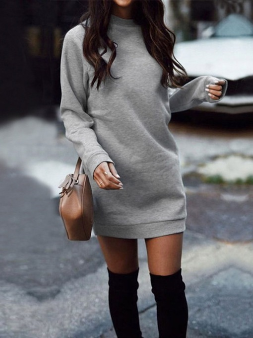 Above Knee Stand Collar Long Sleeve Pullover Women's Dress