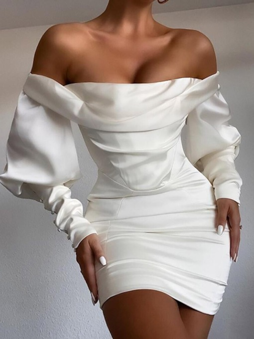 Off Shoulder Pleated Above Knee Long Sleeve Sexy Women's Dress