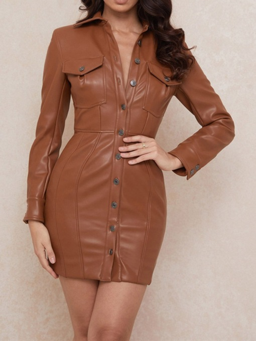 Long Sleeve Above Knee Backless Lapel Plain Women's Dress