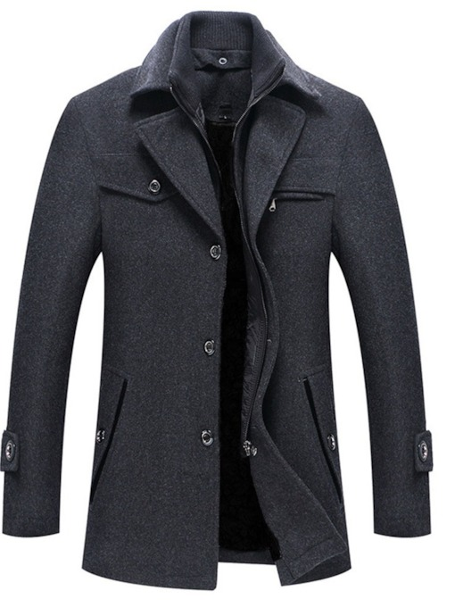 Plain Standard Button Single-Breasted Men's Coat