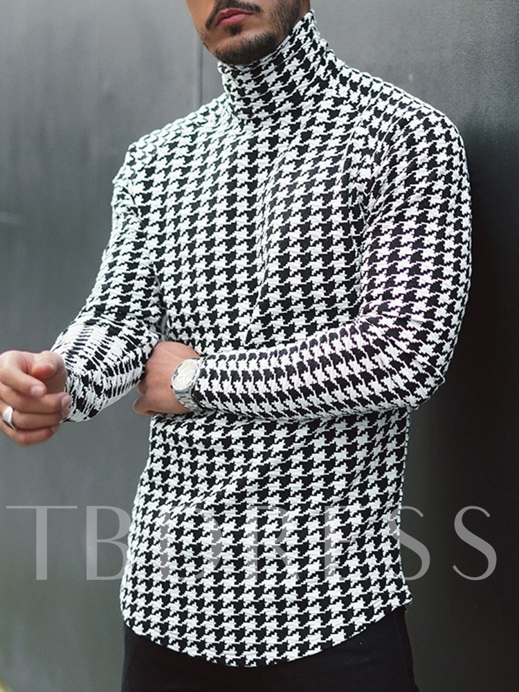 Houndstooth Casual Turtleneck Slim Men's T-shirt