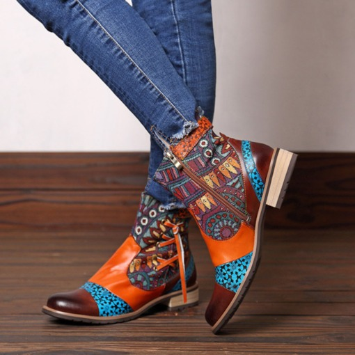 Round Toe Block Heel Color Block Side Zipper Thread Boots