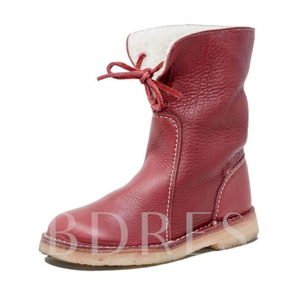 Block Heel Lace-Up Front Plain Round Toe Casual Boots