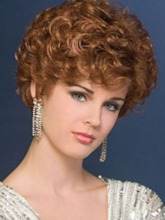 New Design Women's Blonde Curly Cropped Synthetic Hair Comfortable Capless W8 Inches 120% Wigs