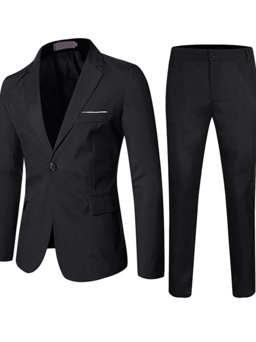 One Button Plain Formal Pants Men's Dress Suit